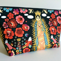 Extra Large Cosmetic Case Toiletry Bag Travel Bag Makeup Bag in Our of Lady Guadalupe
