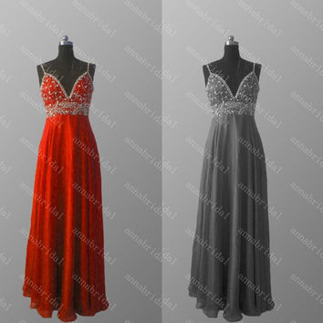 Spaghetti Straps Prom Dresses A Line Red Gray Evening Dresses Long Bridesmaid Dresses Beaded Sequins Lace up Back Party Dresses 2015 Chiffon