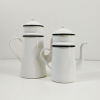 French White Enamel Biggin, two tier Cafetière, drip coffee and teapot, CNEB Belgium, black trim