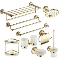 Antique Gold Brass Carved Bath Decoration Polished Bathroom Accessories Mounting Bath Hardware Set Bathroom Products