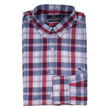 Custom Patriots Point Plaid Slim Tucker Shirt in Pomegranate by Vineyard Vines