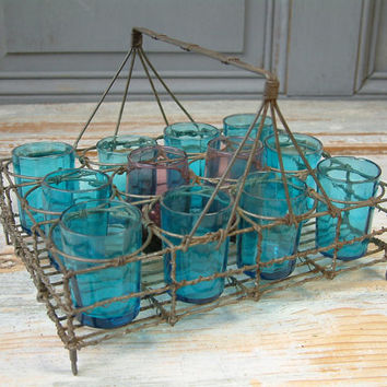 Antique handmade french wire glass carrier for liqueur glass or shot glasses. After dinner digestive drinks.