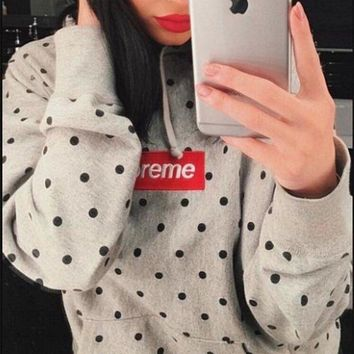 LMONFT Supreme Medium Grey Comme Des Garcons Polka Dot Box Logo Hoodie