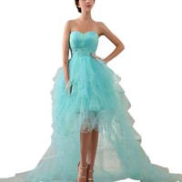 Graceful Strapless Sweetheart Empire High Low Sweep Train Pageant Dresses 3246