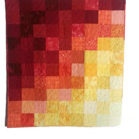 Bright Gradient Quilt, Fall Colors, Red, Yellow and Orange Quilt, Wall Hanging - Lap Quilt
