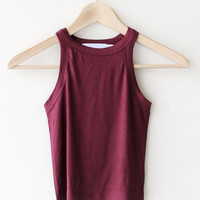 Ribbed Crop Tank Top - Burgundy
