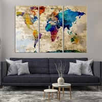 90672 - Large Wall Art Rainbow Coloured World Map on Old Cream Wall Canvas Print
