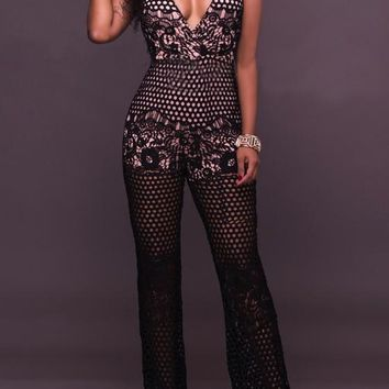 Black Floral Lace Cut Out Deep V-neck Club Long Jumpsuit