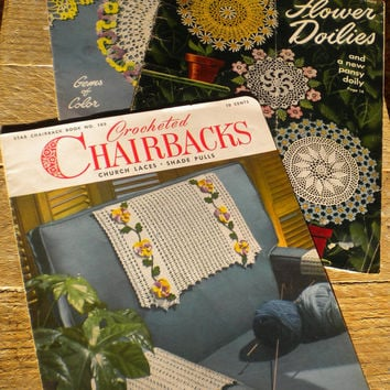 Star Book Crochet Patterns, Floral Crochet, floral doily patterns,  Lot of three floral pattern booklets, crochet pattern book