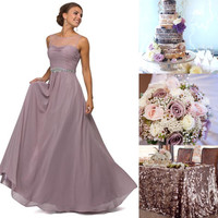 Illusion Chiffon Long Bridesmaid dress Evening Gown 5 colors Prom Dress