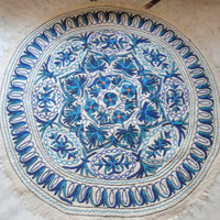 Blue Rug Hand embroidered/ 5 feet round/ Custom made/carpet/door mat/floor covering