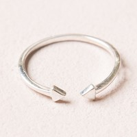 DOUBLE ARROW SILVER OPEN RING