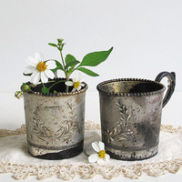 2 vintage rustic silver plate cups - engraved floral pattern - cottage chic