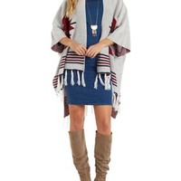 Ivory Combo Geometric Print Fringe Poncho Sweater by Charlotte Russe