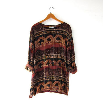Vintage INDIAN blouse. Boho hippie gypsy shirt. Ethnic festival tunic top. Tribal shirt.