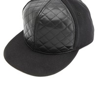 QUILTED FAUX LEATHER SNAPBACK HAT