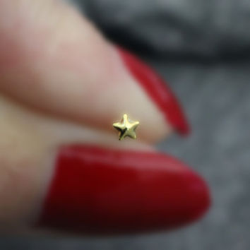 Star Nose Stud, Star Nose Ring, Gold Starfish, Tragus Earring, Cartilage Stud, Silver Star Fish, Solid 0.925 Sterling Silver, 20 Gauge, 20G