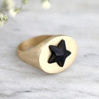 Signet Ring, Star Ring, Signet Gold Ring, Signet Star Gold Ring, Gift For Her, Black Gold Ring, Signet Silver Ring, Swarovski Crystal Ring