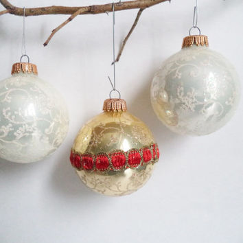 3 West German Christmas Ornaments Vintage Collectables glass ornaments Holiday decor White Gold Red cottage shabby