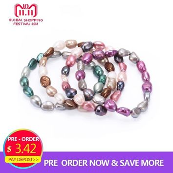 HENGSHENG 2018 Hot Baroque Freshwater Pearl Bracelets For Women, Muti Color Elastic Bracelet,Trendy Fine 8-9mm Jewelry Bracelets
