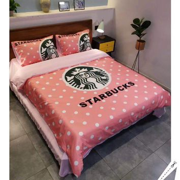Starbucks Stylish Fashion Modal 4 Pieces Sheet Set Blanket For Home Decor Bedroom Living Rooms Sofa
