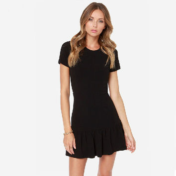 Ladies Black Short Sleeve Elegant Knitting Mini Casual Dress