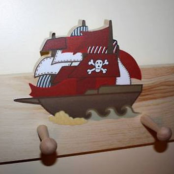 Pirate Ship Kids Boys Wooden CLOTHES PEG Rack Bathroom Bedroom 2CR001