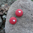 Red Button Earring, Red Earrings, Red Jewelry, Red and White, Button Earring, Heart Earring, Gifts Under 10, Valentines Day, Heart Jewelry
