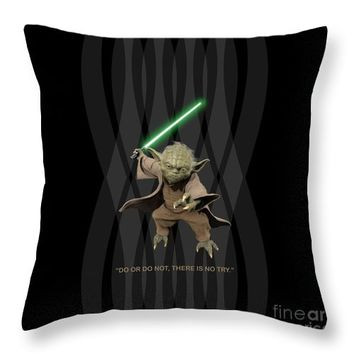 Do Or Do Not, There Is No Try. - Yoda Throw Pillow