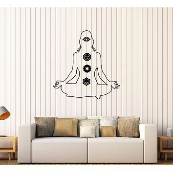 Vinyl Wall Decal Yoga Chakra Meditation Pose Hinduism Mantra Stickers Unique Gift (429ig)