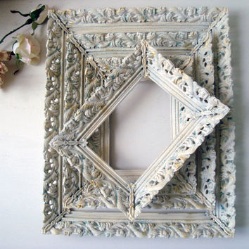 antique white vintage filigree frames shabby chic white and patina frames with glass distressed - White Vintage Picture Frames