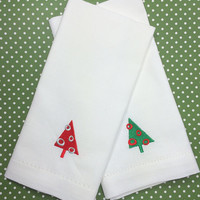 Christmas Retro Tree Cloth Napkins, Christmas tree, christmas linens , retro christmas, Christmas tree napkins, Christmas tree linens