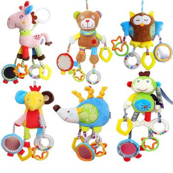 Baby Animal Clip Rattles Toy Kids Soft Plush Toy Infant Stroller/Bed/Crib Hanging Toys