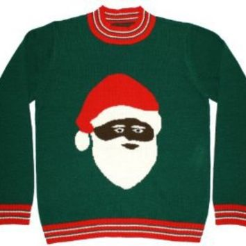 Ugly Christmas Sweater - Black Santa Clause Holiday Sweater By Festified
