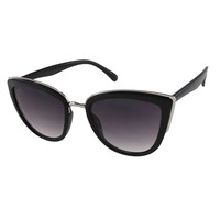 Womens Oversize Cateye Sunglasses with Metal Accents