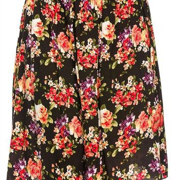 Floral Print Knee Length Flared Pleated A-Line Chiffon Midi Retro Skirt