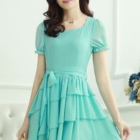 Belted Ruffled Layered Cocktail Dress - OASAP.com