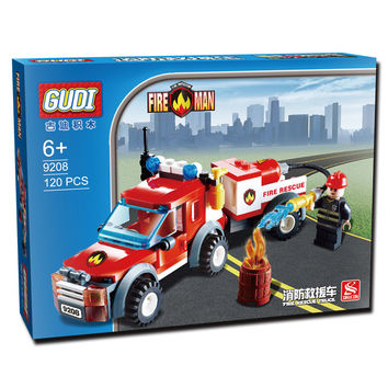 GUDI Fire Rescue Building Blocks Truck Compatible with Lego Fire Station Truck  Education DIYToys Gift for Children Boys