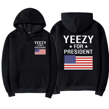 Yeezy For President Woman Fashion Print Flag Top Sweater Pullover Hoodie
