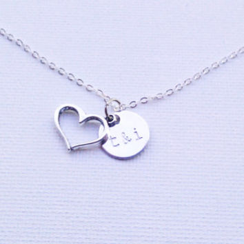 Custom Necklace for Couples - Initials and Heart Charm - I love you Necklace - Gift Idea for Her