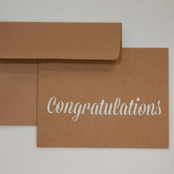 "Classy Congratulations 4""x6"" greeting card recycled craft paper and beautiful textured white cursive laser cut CONGRATULATIONS on brown card"