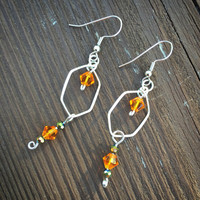 Orange earrings, swarovski crystal, silver, wire wrapped, dangle and drop, gifts for her, summer, fashion, crystal jewelry