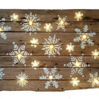 12 x 18 inch Handmade Lit LED Lights Snowflake Wooden Winter Christmas Home Decor Sign on Reclaimed Barn Wood
