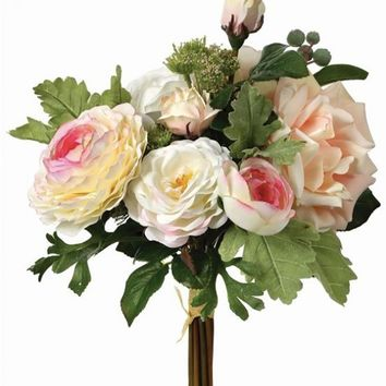 """Artificial Flower Bouquet of Blush Roses and Ranunculus - 12"""" Tall"""