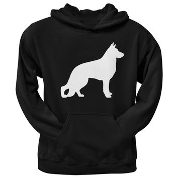 German Shepherd Silhouette Black Adult Hoodie