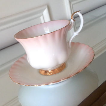Antique Royal Albert Pink Rainbow tea cup and saucer, English tea set, wedding gift.