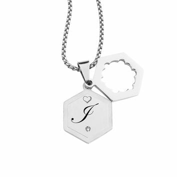Double Hexagram Initial Necklace With Cubic Zirconia By Pink Box - I