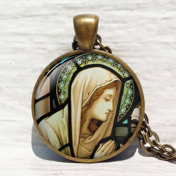 Virgin Mary and Child Stained Glass ,Christian Jewelry ,Christian Gifts ,Virgin Mary Necklace ,Christian Necklace ,Baby Jesus Jewelry