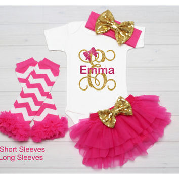 Baby Girl Monogram Shirt, Personalized Name Glitter Shirt, Baby Name Shirt, Baby Girl Clothes, Baby Girl Shirt, Baby Gift, Take Home Outfit