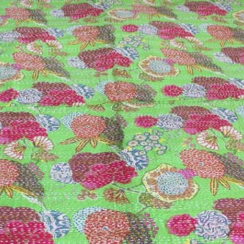 Designer Tropical Fruit Print Blanket kantha , Reversible Bedspread Handmade Cotton Bedsheet Home Décor